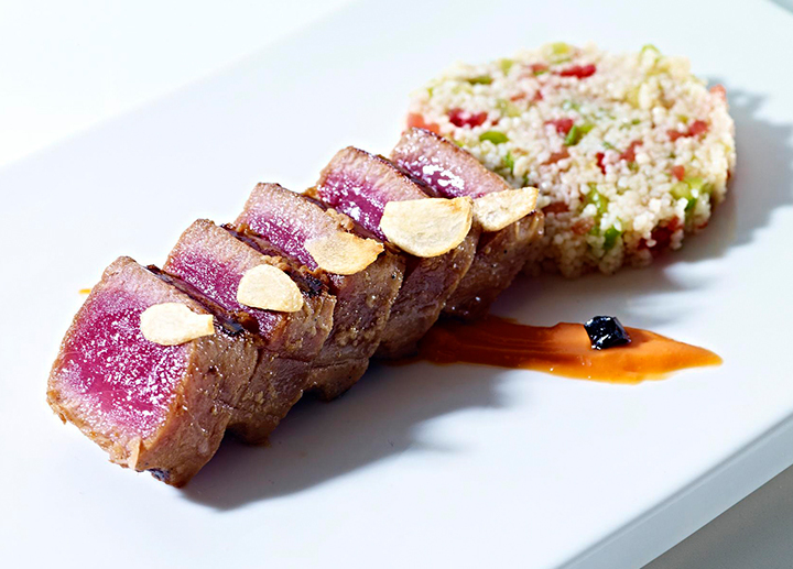 Marinated bluefin tuna with cous cous